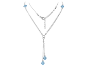 925 Sterling Silver 8mm Aquamarine Color Crystal 20 inch Necklace Made with Swarovski Elements