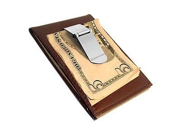 Brown Metal Money Clip Leather Wallet Credit Card