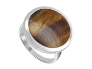 925 Sterling Silver 17mm Round Tiger eye Gemstone Button Design Ring Size 7.5
