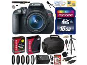 Canon Rebel T5i with 18-55 DSLR SLR Digital Camera (Best Value Bundle Kit ) 8595B003 (16GB SD Card + SD Reader + Soft Case + Battery + Charger + Cleaning Kit + Pro Tripod + Filter Kit + More)