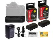 Opteka BG-E14 Vertical Power Battery Grip + 2 Pc LP-E6 LPE6 Battery Pack + Charger for Canon EOS 70D