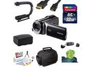 "Samsung HMX-F90 HD Camcorder (Black) with 2.7"" LCD Screen With Enthusiast Accessory Kit Includes 32GB Transcend High Speed Error Free SDHC Memory Card + USB 2.0 Card Reader + Additional Samsung IA-BP2"