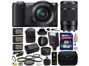 Sony Alpha A5000 20.1 MP Interchangeable Lens Camera with 16-50mm & 55-210mm F4.5-6.3 OSS Lens with Sony HVL-F20M Flash + 16GB Memory Card + x3 NP-FW50 + Charger + 2.2x + .43x Lens + $50 Gift Card