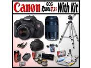 """Canon EOS Rebel T3i 18 MP CMOS Digital SLR Full HD Camera with Advanced Shooters Kit with EF-S 18-55mm f/3.5-5.6 IS, EF 75-300mm f/4-5.6 III, 53"""" Travel Tripod, Camera Bag, 16Gb SD Card and Much More"""