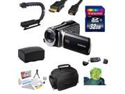 """Samsung HMX-F90 HD Camcorder (Black) with 2.7"""" LCD Screen With Enthusiast Accessory Kit Includes 32GB Transcend High Speed Error Free SDHC Memory Card + USB 2.0 Card Reader + Additional Samsung IA-BP2"""