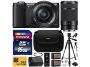 Sony Alpha A5000 20.1 MP Interchangeable Lens Camera with 16-50mm & 55-210mm F4.5-6.3 OSS Lens with 16GB Memory Card + x2 NP-FW50 Battery + Charger + Tripod + Bonus $50 Gift Card for Digital Prints