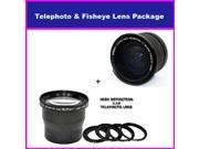 3.5X HD Professional Telephoto lens & 0.35x HD Super Wide Angle Panoramic Macro Fisheye Lens For Canon VIXIA HF S21 S20 S200 GL1, GL2, XM1, XM2, VIXIA HF S10, HF S11, HF S20, HF S21, HF S100 & HF S200
