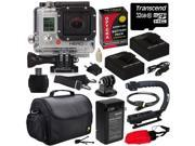 GoPro HD Hero3 Hero 3 Silver Edition (CHDHN301) with 32GB MicroSD, (2) Battery, Charger, European Adapter, Action Grip Handle, Case, HDMI Cable, Floating Strap, Tripod Adapter Mount, Cleaning Kit