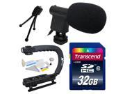 Beginner DSLR Video Studio Broadcast Interview Mini Microphone with Transcend 32GB Class 10 SD Memory Card + Opteka X-GRIP Action Sports Stabilizer Digital Camera Handle Grip + Camera And Lens Cleanin