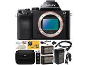Sony a7 Full-Frame 24.3 MP Mirrorless Interchangeable Digital Lens Camera - Body Only (ILCE7) with Must Have Accessories Bundle Kit includes includes x2 Replacement (1200mAh) NP-FW50 Battery + Hard Sh