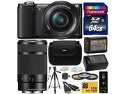 Sony Alpha A5000 20.1 MP Interchangeable Lens Camera with 16-50mm & 55-210mm F4.5-6.3 OSS Lens with 64GB Class 10 SDHC Memory Card + NP-FW50 + Charger + Tripod + Case + $50 Gift Card