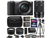 Sony Alpha A5000 20.1 MP Interchangeable Lens Camera with 16-50mm & 55-210mm F4.5-6.3 OSS Lens with 64GB Memory Card + x2 NP-FW50 + Charger + Tripod + 2.2x + .43x Lens + Carrying Case + $50 Gift Card
