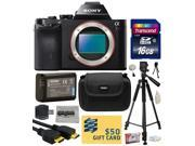 Sony a7R Full-Frame 36.4 MP Mirrorless Interchangeable Digital Lens Camera - Body Only (ILCE7R) with 16GB Memory Card + NP-FW50 Battery + Tripod + Carrying Case + Camera Cleaning Kit + $50 Gift Card