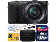Sony NEX-3 Compact Mirrorless Interchangeable Lens Digital Camera with 16-50mm f/3.5-5.6 Lens (Black) with 32GB Class 10 SDHC Memory Card, Carrying Case, Camera Lens Cleaning Kit, $50 Gift Card