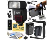 Flash Kit includes Sigma EF-530 DG ST Electronic Flash, Pop-Up Diffuser, Grey Card Set, Flash Bracket, Wireless Shutter, NP-FM500H Battery with Charger, Cleaning Set, $50 Gift Card Sony Alpha A57, A58