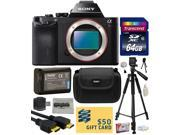 Sony a7R Full-Frame 36.4 MP Mirrorless Interchangeable Digital Lens Camera - Body Only (ILCE7R) with Best Value Accessories Bundle Kit includes includes 64GB Class 10 SDHC Memory Card + Replacement (1