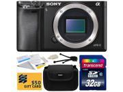 Sony Alpha a6000 24.3 MP Mirrorless Interchangeable Lens Camera - Body Only (ILCE6000) with 32GB Memory Card + Hard Shell Carrying Case + Camera Cleaning Kit + Bonus $50 Gift Card for Digital Prints