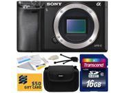 Sony Alpha a6000 24.3 MP Mirrorless Interchangeable Lens Camera - Body Only (ILCE6000) with Starter Accessories Bundle Kit includes 16GB Class 10 SDHC Memory Card + Hard Shell Carrying Case + Camera L