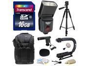 Sony NEX, Alpha, Cybershot, SLT Series Kit with Transcend 16GB Memory Card, Vivitar DF-293 Shoe Mount Auto Focus Bounce Zoom Swivel Flash for Sony (VIVDF293S), Tripod, Backpack, Condenser Microphone