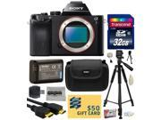 Sony a7 Full-Frame 24.3 MP Mirrorless Interchangeable Digital Lens Camera - Body Only (ILCE7) with Best Value Accessories Bundle Kit includes includes 32GB Class 10 SDHC Memory Card + Replacement (120