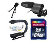 Intermediate DSLR Video Studio Broadcast Interview Microphone with Transcend 64GB Class 10 SD Memory Card + Opteka X-GRIP Action Sports Stabilizer Digital Camera Handle Grip + Camera And Lens Cleaning
