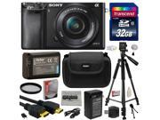 Sony Alpha a6000 24.3 MP Interchangeable Mirrorless Lens Camera with 16-50mm Power Zoom Lens (ILCE6000L/B) with Must Have Accessories Bundle Kit includes 32GB Class 10 SDHC Memory Card + Replacement (