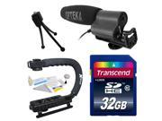 Intermediate DSLR Video Studio Broadcast Interview Condenser Shotgun Microphone with Transcend 32GB Class 10 SD Memory Card + Opteka X-GRIP Action Sports Stabilizer Digital Camera Handle Grip + Camera