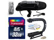 Professional DSLR Video Studio Broadcast Interview Microphone with Transcend 32GB Class 10 SD Memory Card + Opteka X-GRIP Action Sports Stabilizer Digital Camera Handle Grip + Camera And Lens Cleaning