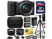 Sony NEX-5 Mirrorless Compact Interchangeable Lens Digital Camera with 16-50mm Power Zoom Lens (Black) with 64GB Card, x2 NP-FW50, Charger, Tripod, 3 PC Filter, 2.2x Lens, .43x Fisheye Lens and More