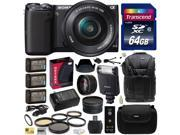 Sony NEX-5 Mirrorless Compact Interchangeable Lens Digital Camera with 16-50mm Power Zoom Lens (Black) with Sony HVL-F20M External Flash, 64GB Card, x3 NP-FW50, Charger, 5 PC Filter, Lens Set and More