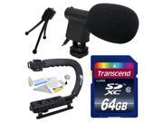 Beginner DSLR Video Studio Broadcast Interview Mini Microphone with Transcend 64GB Class 10 SD Memory Card + Opteka X-GRIP Action Sports Stabilizer Digital Camera Handle Grip + Camera And Lens Cleanin