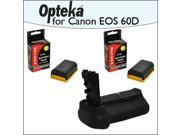 Battery Pack Grip BG-E9 BGE9 / Vertical Shutter Release With 2 Opteka LP-E6 LPE6 2400mAh Ultra High Capacity Li-ion for Canon EOS 60D DSLR Digital Camera