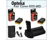 Opteka Battery Pack Grip / Vertical Shutter Release With 2 Opteka LP-E6 LPE6 2400mAh Ultra High Capacity Li-ion and Rapid Charger for Canon EOS 5D Mark 2 3 II III 5DM2 5DM3 6D 7D 60D 60Da 70D DSLR Dig