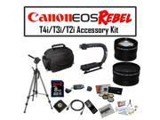 Deluxe Accessory Kit for Canon EOS Rebel T2i T3i T4i with Opteka Microfiber Deluxe Photo / Video Camera Gadget Bag, Opteka X-Grip Handle, 8GB SDHC High Speed Memory Card, Full Size Tripod and More!