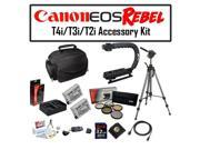 Deluxe Accessory Kit for Canon EOS Rebel T2i T3i T4i T5i 550D 600D 650D 700D Kiss X4 X5 X6 X6i X7i DSLR Digital Camera with Opteka Microfiber Deluxe Photo / Video Camera Gadget Bag, Opteka X-Grip Prof