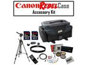 "Canon REBEL SLR Gadget Bag For EOS or Rebel Cameras with Opteka 70"" Tripod, 5 Piece Filter Kit (UV, CPL, FL, ND4 and 10x Macro Lens), (2) Opteka 32 GB SDHC High Speed Class 10 Memory Card and MORE!"