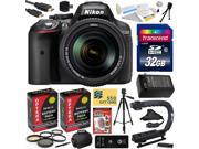 Nikon D5300 24.2 MP CMOS Digital SLR Camera with 18-140mm f/3.5-5.6G ED VR AF-S DX NIKKOR Zoom Lens (Black) (13303) with 32GB SD Memory Card, Tripod, Case, (2) Extra Battery & Charger and More