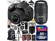 Nikon D5300 24.2 MP CMOS Digital SLR Camera with 18-55mm f/3.5-5.6G ED VR II AF-S DX NIKKOR Zoom Lens & Nikon 55-300mm f/4.5-5.6G ED VR Zoom Lens (Black) (1522) with Ultimate Accessory Bundle Kit incl