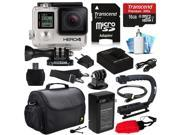 GoPro HERO4 Hero 4 Black Edition 4K Action Camera Camcorder with 16GB Must Have Accessories Kit with MicroSD Card, Battery, Charger, Large Case, Grip, HDMI, Card Reader, Cleaning Care Kit (CHDHX-401)