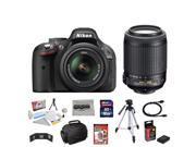 Nikon D5200 24.1 MP CMOS Digital SLR with 18-55mm f/3.5-5.6 AF-S DX VR NIKKOR Zoom Lens + Nikon 55-200mm f/4-5.6G ED IF AF-S DX VR [Vibration Reduction] Nikkor Zoom Lens + 10 Piece Accessory Bundle.