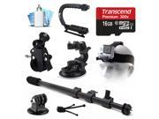 16GB Mount Package w Monopod Action Grip for GoPro HERO4 Hero 4 Black Silver 3