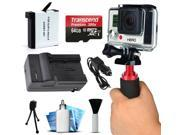AHDBT-401 Battery + Charger + 64GB + Grip Handle + More for GoPro HERO4 Hero 4