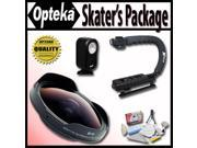 """Opteka Deluxe """"Skaters"""" Package with OPT-SC43FE 0.3X Ultra Fisheye Lens, X-GRIP Handle, & 3 Watt Light for JVC GZ-HD10, GZ-HD30, GZ-HD40, GZ-HD5, GZ-HD6 and GZ-MG730 Digital Camcorders"""
