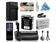 Multi Power Battery Grip + Ultra High Capacity LP-E8 LPE8 Battery (2400mAh) + AC/DC Rapid Battery Charger for Canon EOS Rebel T2i T3i T4i T5i DSLR SLR Digital Camera (BG-E8 BGE8 Replacement)