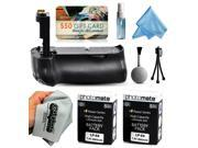 Multi Power Battery Grip + (2 Pack) Ultra High Capacity LP-E6 LPE6 Replacement Battery (2800mAh) + $50 Gift Card for Prints for Canon EOS 60D DSLR SLR Digital Camera (BG-E9 BGE9 Replacement)