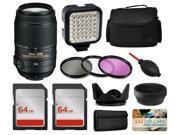 Nikon 55-300mm VR Lens 2197 + Accessories Bundle includes LED Light + Case + Filters + 128GB Memory for Nikon DF D7200 D7100 D7000 D5500 D5300 D5200 D5100 D5000 D3300 D3200 D3100 D3000 D300S D90