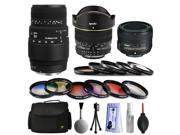 Sigma 70-300mm DG Lens + 50mm f/1.8G + 6.5mm f/3.5 Fisheye Lens Bundle Package + Filters & Accessories for Nikon DF D7200 D7100 D7000 D5500 D5300 D5200 D5100 D5000 D3300 D3200 D3100 D3000 D300S D90