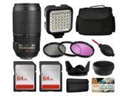 Nikon AF-S VR 70-300mm Lens 2161 + Accessories Bundle includes LED Light + Case + Filters + 128GB Memory for Nikon DF D7200 D7100 D7000 D5500 D5300 D5200 D5100 D5000 D3300 D3200 D3100 D3000 D300S D90
