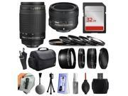 Beginner Accessories Bundle for Nikon DF D7200 D7100 D7000 D5500 D5300 D5200 D5100 D5000 D3300 D3200 D3100 D300S D90 includes Nikon 70-300mm Manual Lens + 50mm f/1.8G + 32GB Memory + Filters + Case