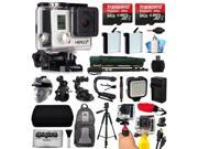 GoPro HERO3+ Hero 3+ Silver Plus Edition Camera Camcorder with 128GB Accessories Bundle includes 2x Battery + Backpack + Action Handle + Car Mount + Selfie Stick + Case + LED Video Light (CHDHN-302)